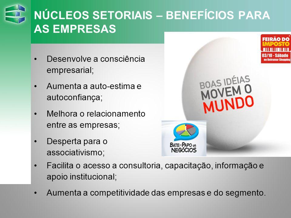 NÚCLEOS SETORIAIS – BENEFÍCIOS PARA AS EMPRESAS Desenvolve a consciência empresarial; Aumenta a auto-estima e autoconfiança; Melhora o relacionamento