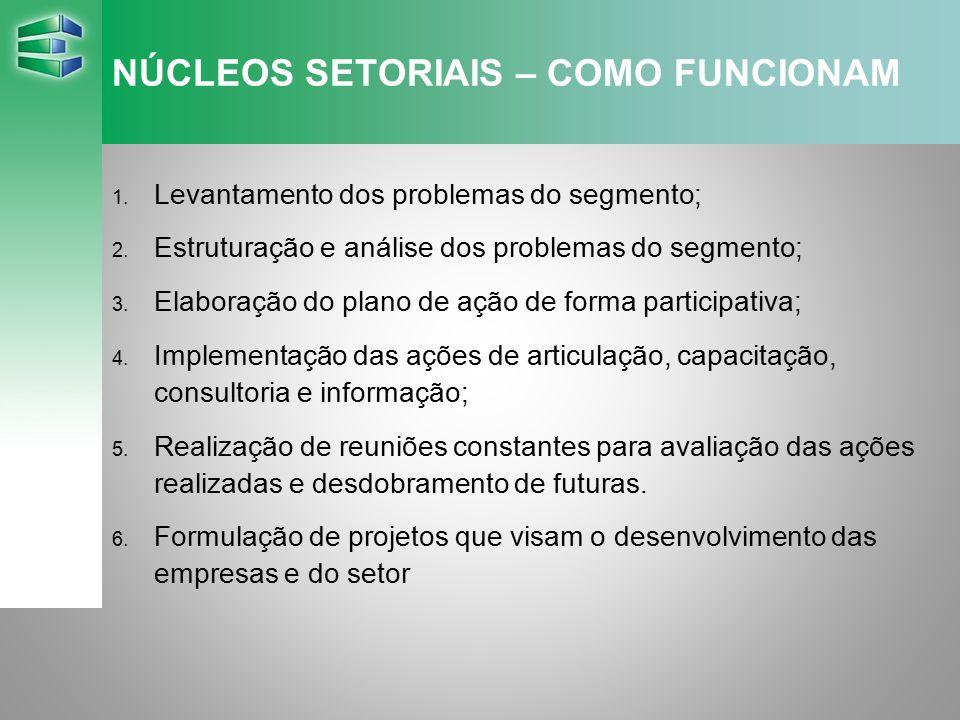 NÚCLEOS SETORIAIS – COMO FUNCIONAM 1. Levantamento dos problemas do segmento; 2. Estruturação e análise dos problemas do segmento; 3. Elaboração do pl
