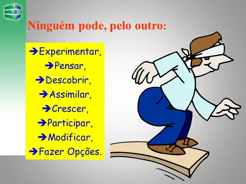 Ninguém pode, pelo outro :  Experimentar,  Pensar,  Descobrir,  Assimilar,  Crescer,  Participar,  Modificar,  Fazer Opções.