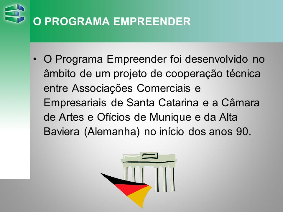 O PROGRAMA EMPREENDER O Programa Empreender foi desenvolvido no âmbito de um projeto de cooperação técnica entre Associações Comerciais e Empresariais de Santa Catarina e a Câmara de Artes e Ofícios de Munique e da Alta Baviera (Alemanha) no início dos anos 90.