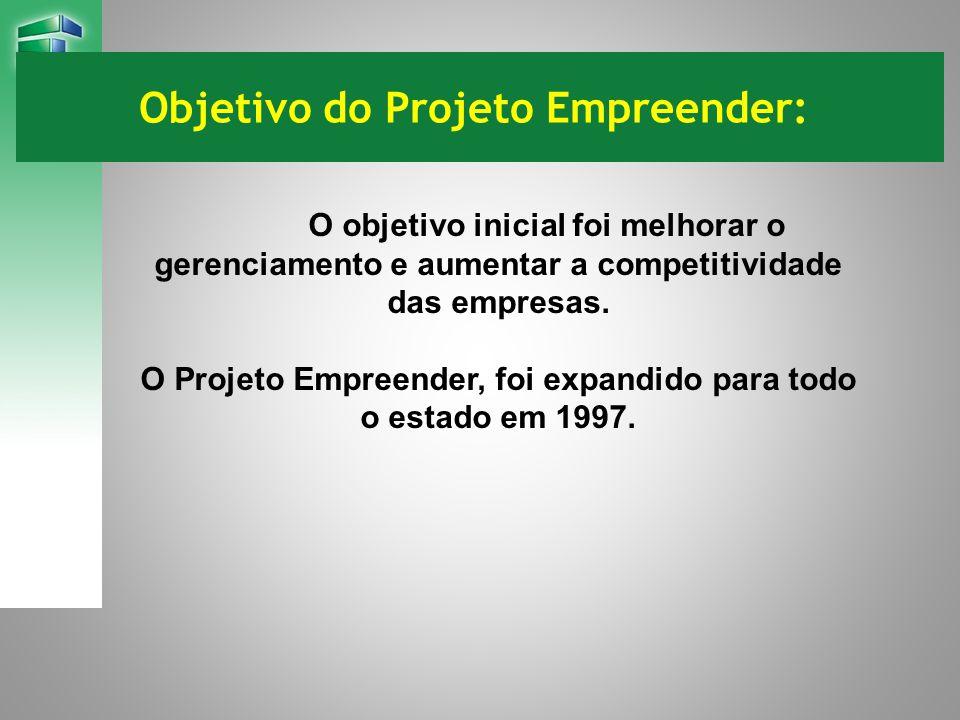 Objetivo do Projeto Empreender: O objetivo inicial foi melhorar o gerenciamento e aumentar a competitividade das empresas. O Projeto Empreender, foi e