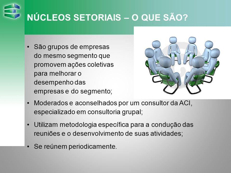 NÚCLEOS SETORIAIS – O QUE SÃO? São grupos de empresas do mesmo segmento que promovem ações coletivas para melhorar o desempenho das empresas e do segm