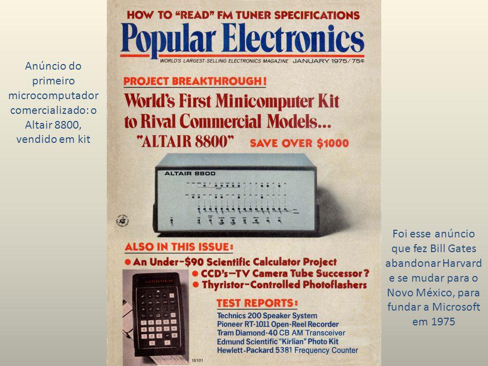 Anúncio do primeiro microcomputador comercializado: o Altair 8800, vendido em kit Foi esse anúncio que fez Bill Gates abandonar Harvard e se mudar para o Novo México, para fundar a Microsoft em 1975