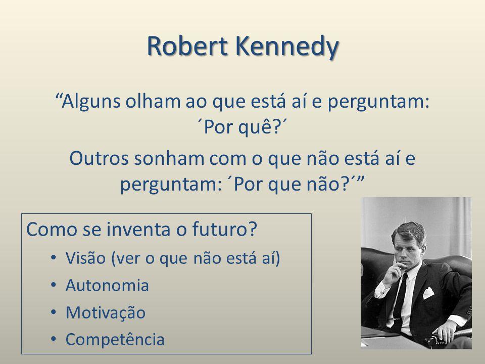 Robert Kennedy Alguns olham ao que está aí e perguntam: ´Por quê?´ Outros sonham com o que não está aí e perguntam: ´Por que não?´ Como se inventa o futuro.