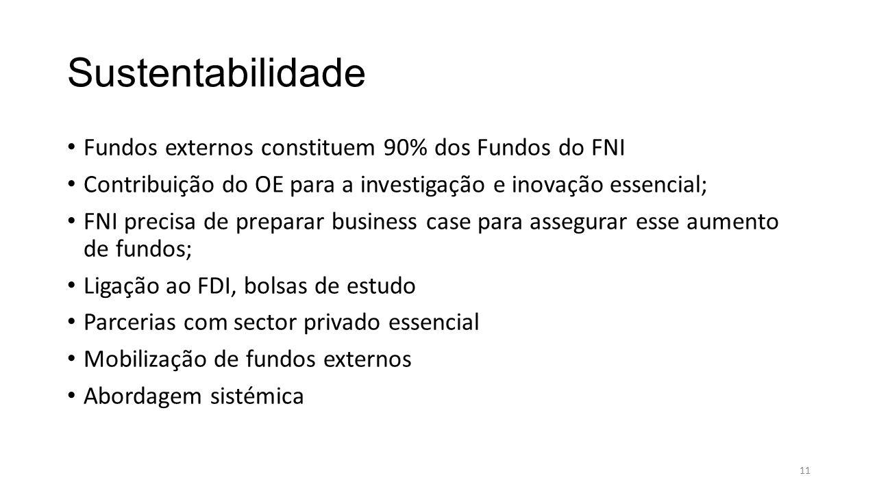 Sustentabilidade Fundos externos constituem 90% dos Fundos do FNI Contribuição do OE para a investigação e inovação essencial; FNI precisa de preparar business case para assegurar esse aumento de fundos; Ligação ao FDI, bolsas de estudo Parcerias com sector privado essencial Mobilização de fundos externos Abordagem sistémica 11