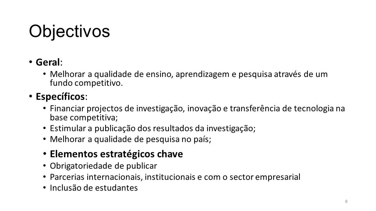 Objectivos Geral: Melhorar a qualidade de ensino, aprendizagem e pesquisa através de um fundo competitivo.