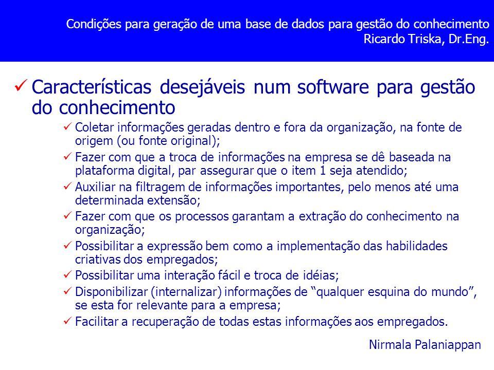 Condições para geração de uma base de dados para gestão do conhecimento Ricardo Triska, Dr.Eng. Características desejáveis num software para gestão do