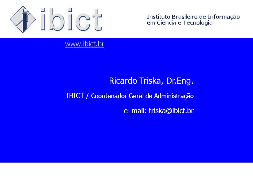 www.ibict.br Ricardo Triska, Dr.Eng. IBICT / Coordenador Geral de Administração e_mail: triska@ibict.br