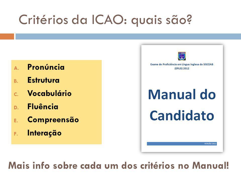Critérios da ICAO: quais são? A. Pronúncia B. Estrutura C. Vocabulário D. Fluência E. Compreensão F. Interação Mais info sobre cada um dos critérios n