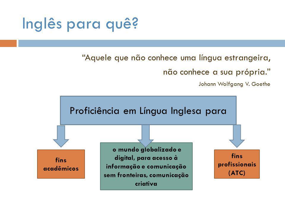 """Inglês para quê? """"Aquele que não conhece uma língua estrangeira, não conhece a sua própria."""" Johann Wolfgang V. Goethe Proficiência em Língua Inglesa"""