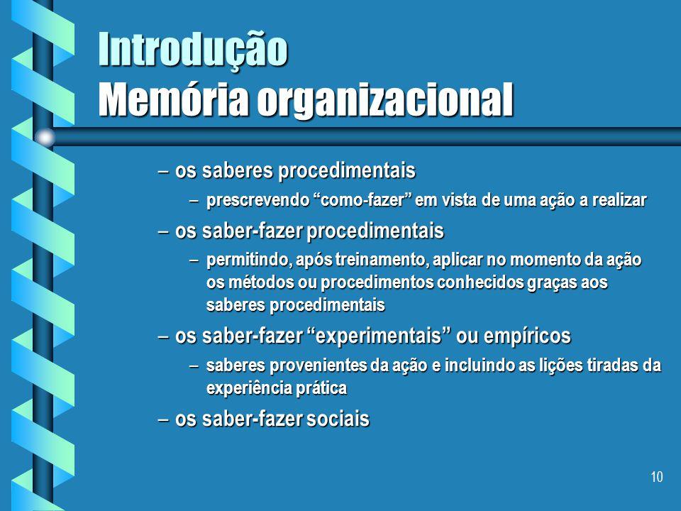 """9 Introdução Memória organizacional  Definição de competência(Le Bortef 94) Competência é um """"saber-agir responsável e valido"""" e enfatiza que ela con"""