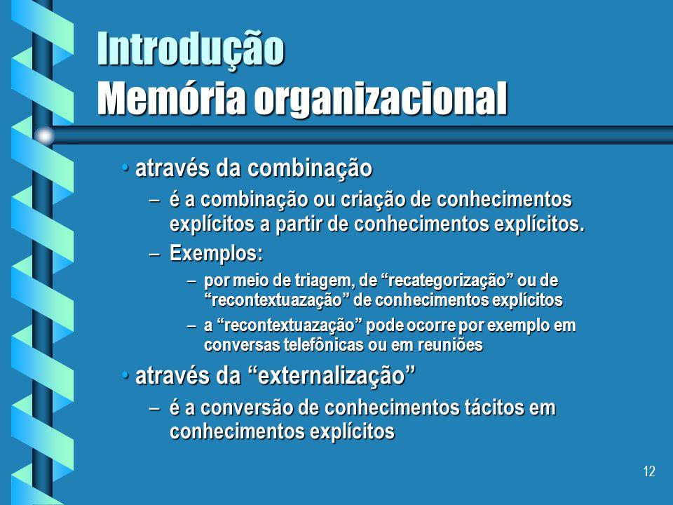 11 Introdução Memória organizacional  Nonaka distingue 4 modos de conversão de conhecimentos: através da socialização através da socialização –é a cr