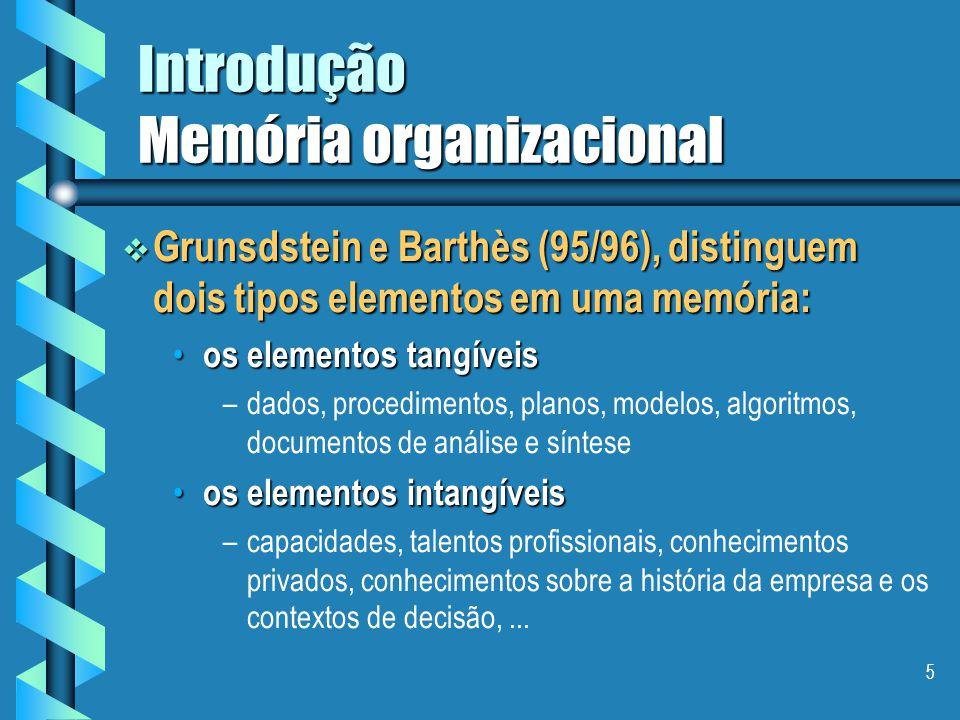 4 Introdução Memória organizacional  Conhecimentos em uma empresa, tipologia segundo Grunsdstein e Barthès (95/96): distingue-se dois tipos de conhec