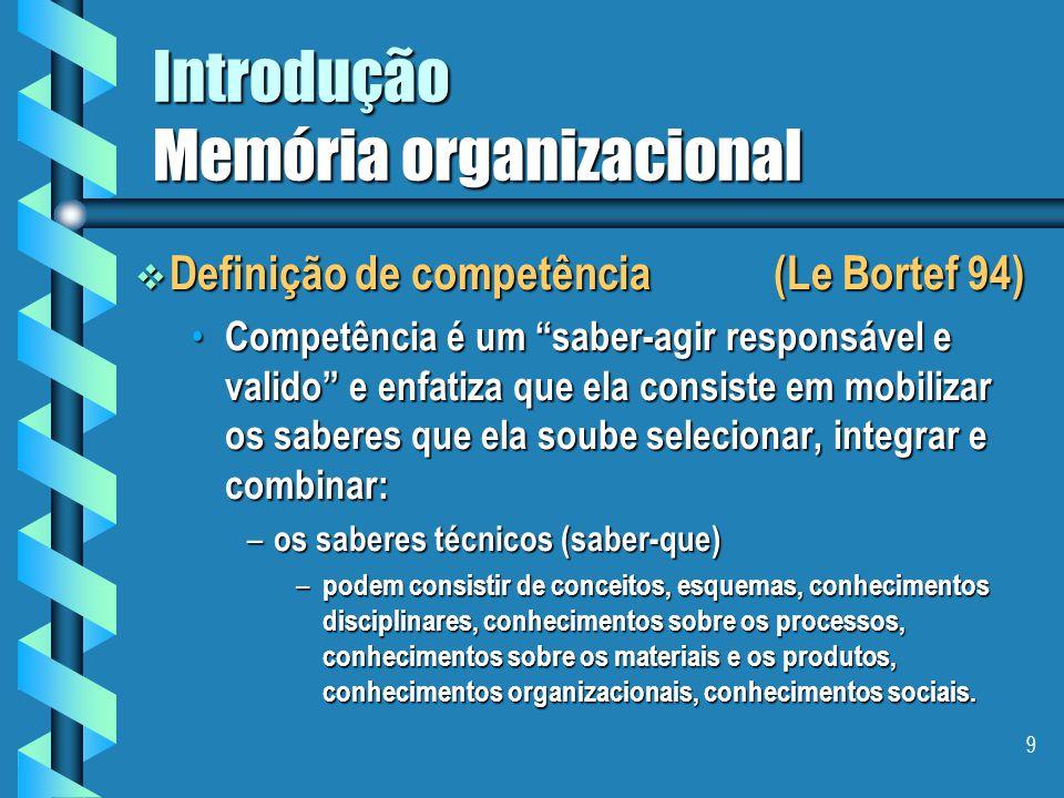 8 Introdução Memória organizacional  Pode-se considerar a gestão de competências uma forma de gestão do conhecimento?  Pode-se, e em particular, à m
