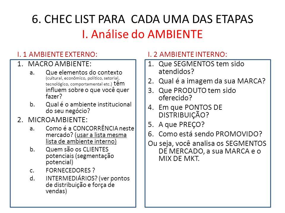 6.CHEC LIST PARA CADA UMA DAS ETAPAS I.