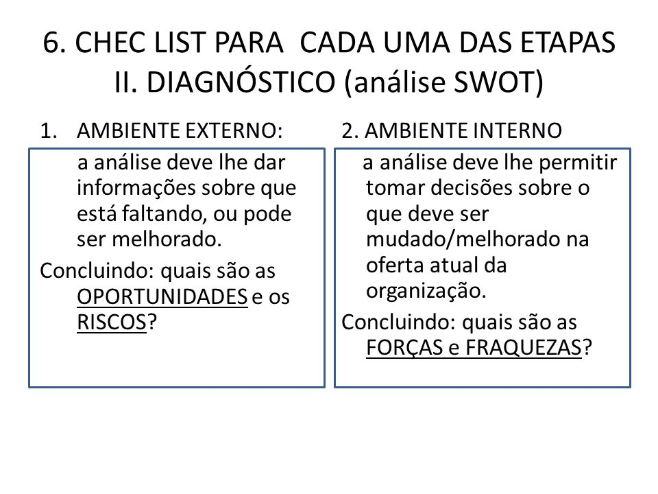 6.CHEC LIST PARA CADA UMA DAS ETAPAS III. OBJETIVO 1.Nem tudo pode ser mudado ao mesmo tempo.