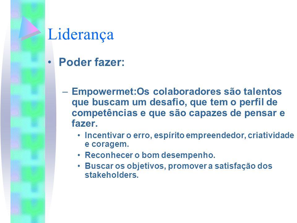 Liderança Poder fazer: –Empowermet:Os colaboradores são talentos que buscam um desafio, que tem o perfil de competências e que são capazes de pensar e