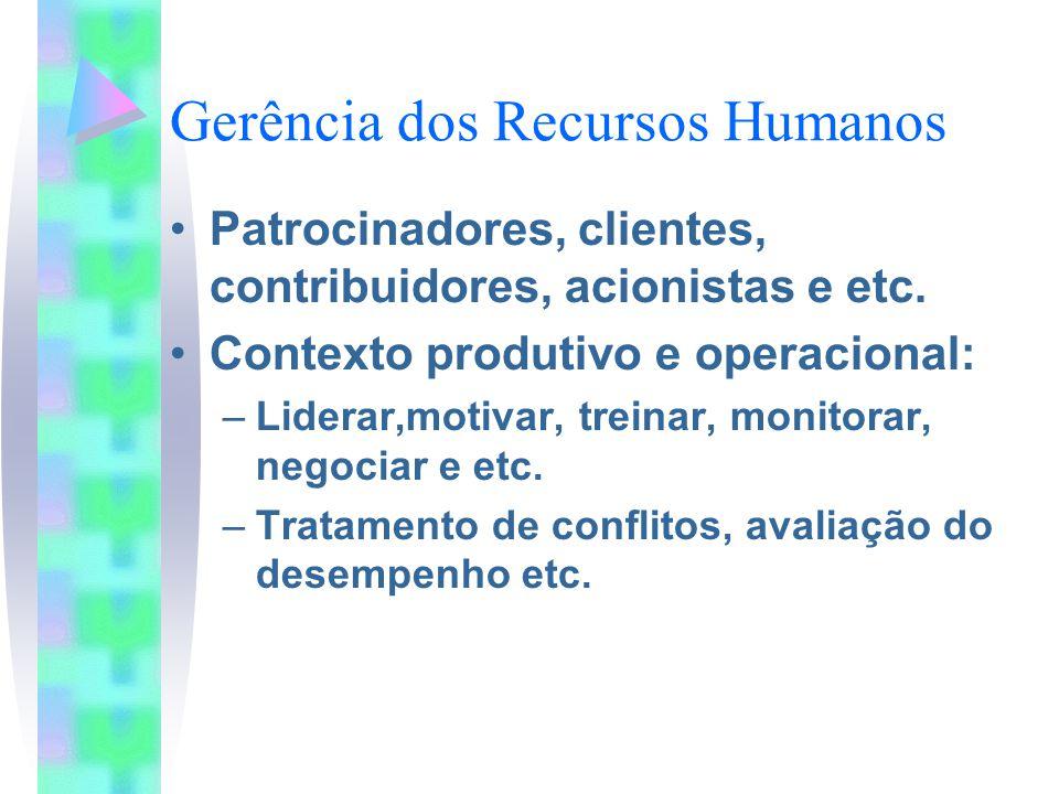 Gerência dos Recursos Humanos Patrocinadores, clientes, contribuidores, acionistas e etc. Contexto produtivo e operacional: –Liderar,motivar, treinar,