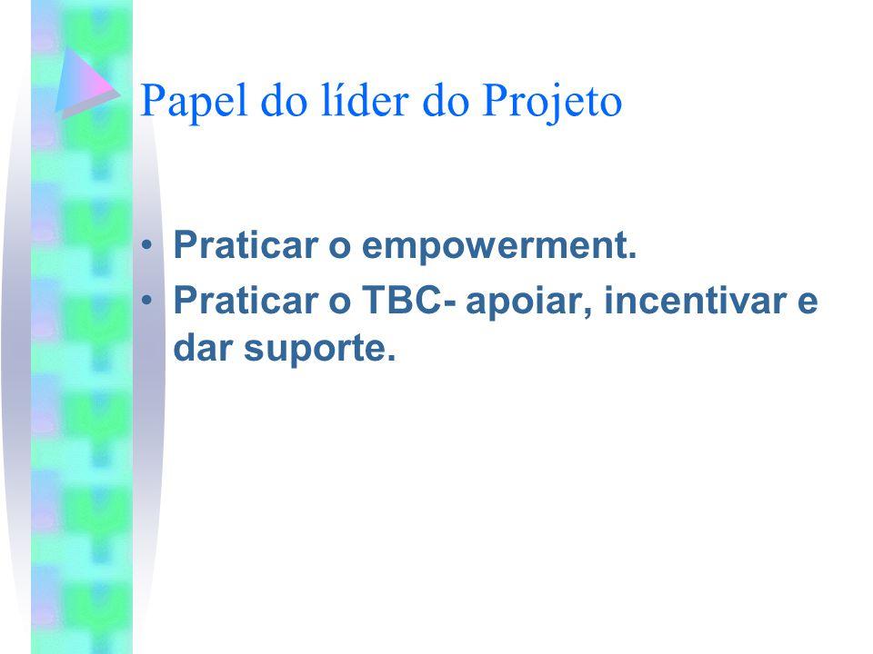 Papel do líder do Projeto Praticar o empowerment. Praticar o TBC- apoiar, incentivar e dar suporte.