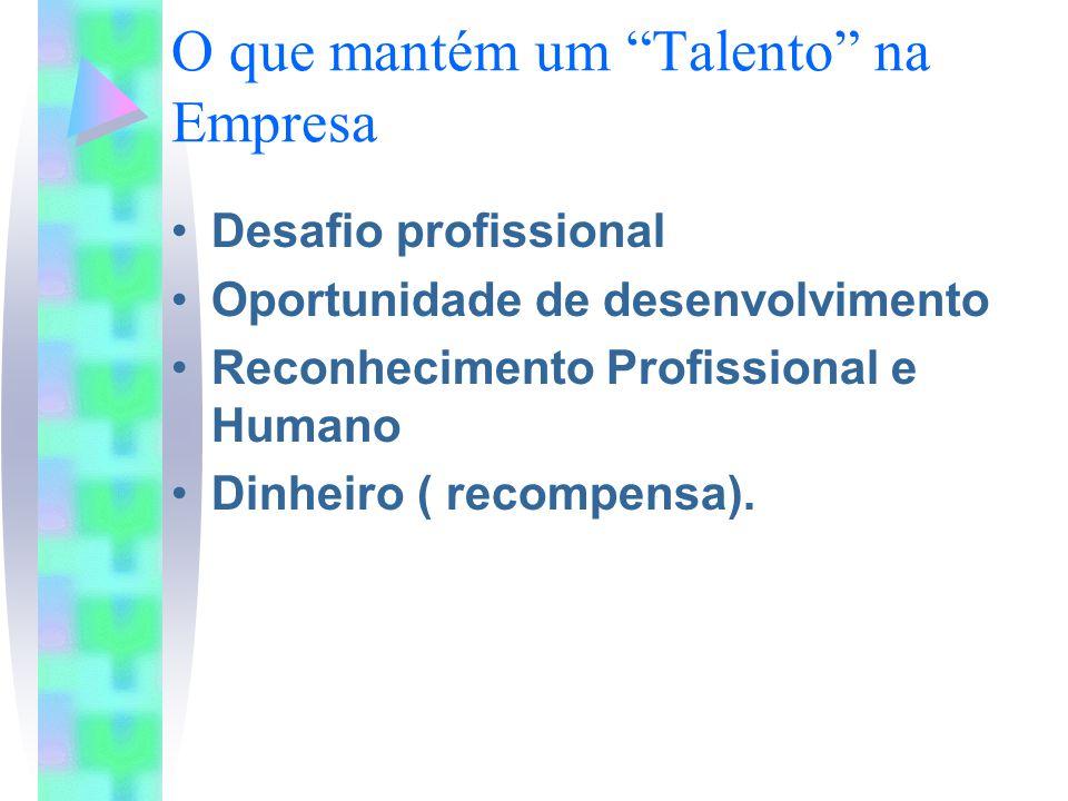 """O que mantém um """"Talento"""" na Empresa Desafio profissional Oportunidade de desenvolvimento Reconhecimento Profissional e Humano Dinheiro ( recompensa)."""