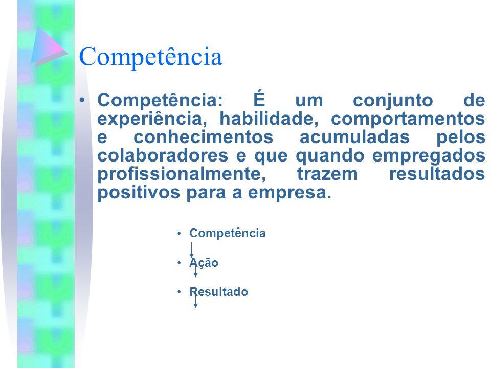 Competência Competência: É um conjunto de experiência, habilidade, comportamentos e conhecimentos acumuladas pelos colaboradores e que quando empregad