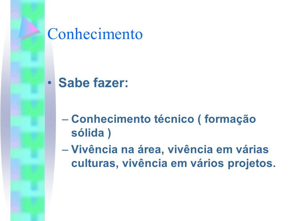 Conhecimento Sabe fazer: –Conhecimento técnico ( formação sólida ) –Vivência na área, vivência em várias culturas, vivência em vários projetos.