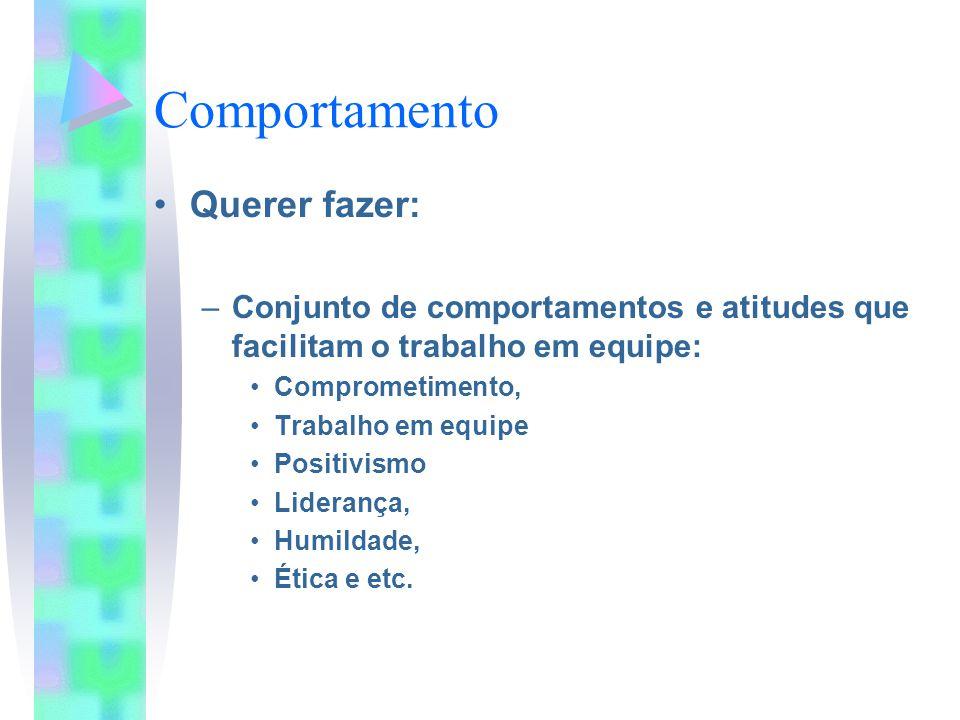 Comportamento Querer fazer: –Conjunto de comportamentos e atitudes que facilitam o trabalho em equipe: Comprometimento, Trabalho em equipe Positivismo