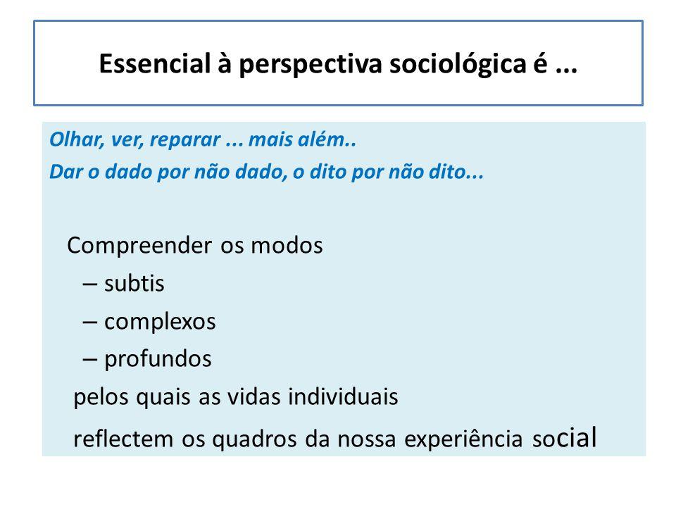 Essencial à perspectiva sociológica é... Olhar, ver, reparar...