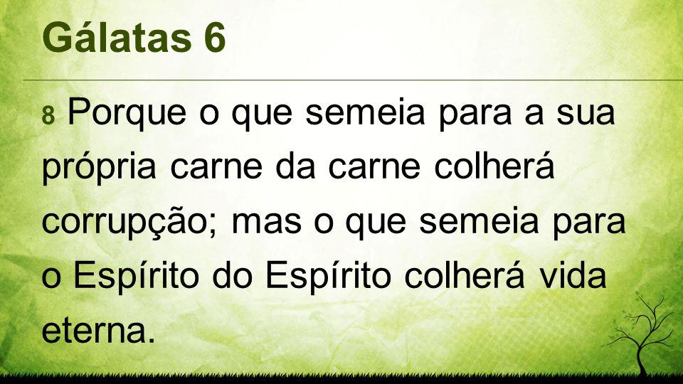 Gálatas 6 8 Porque o que semeia para a sua própria carne da carne colherá corrupção; mas o que semeia para o Espírito do Espírito colherá vida eterna.