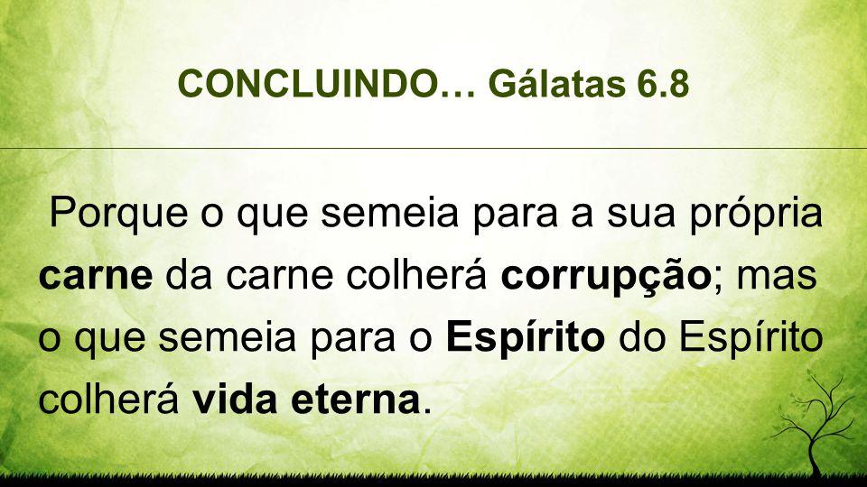 CONCLUINDO… Gálatas 6.8 Porque o que semeia para a sua própria carne da carne colherá corrupção; mas o que semeia para o Espírito do Espírito colherá