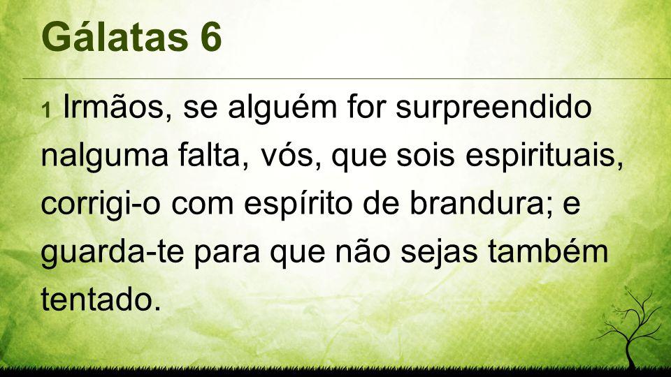 Gálatas 6 1 Irmãos, se alguém for surpreendido nalguma falta, vós, que sois espirituais, corrigi-o com espírito de brandura; e guarda-te para que não