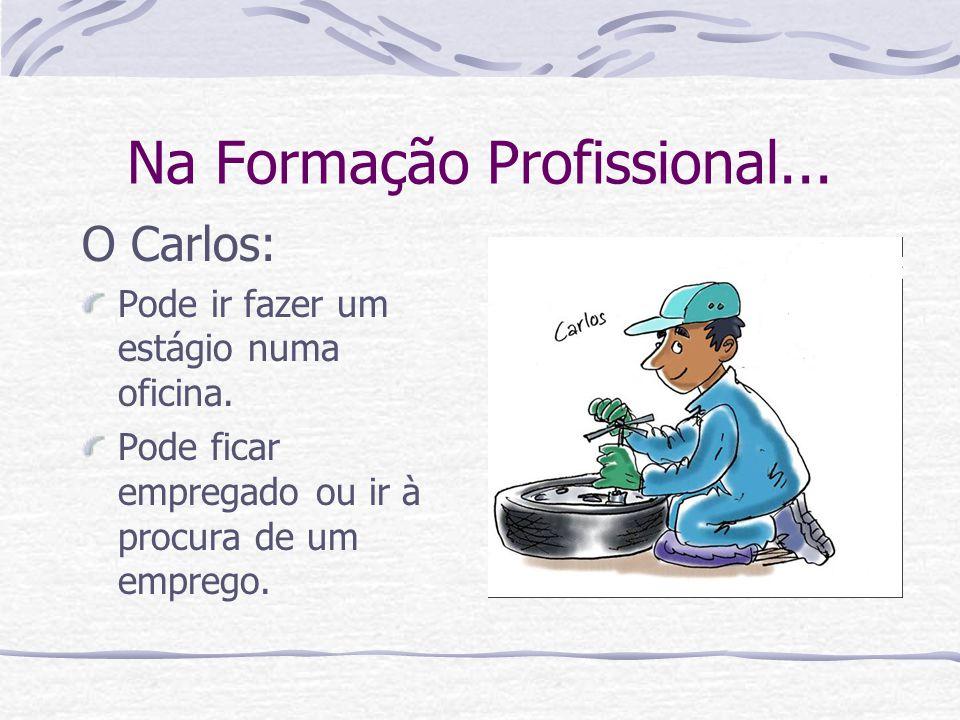 Na Formação Profissional... O Carlos: Pode ir fazer um estágio numa oficina. Pode ficar empregado ou ir à procura de um emprego.