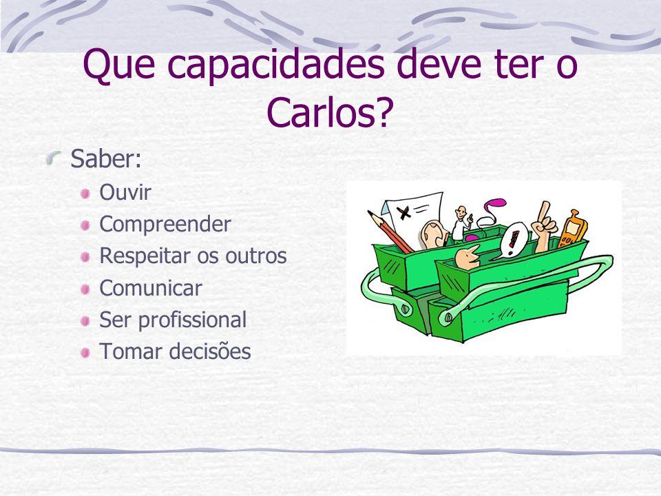 Que capacidades deve ter o Carlos? Saber: Ouvir Compreender Respeitar os outros Comunicar Ser profissional Tomar decisões