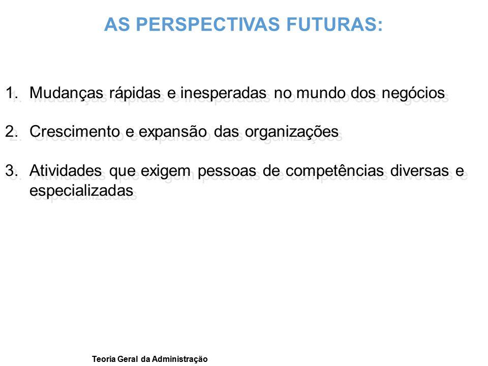 Teoria Geral da Administração 1.Mudanças rápidas e inesperadas no mundo dos negócios 2.Crescimento e expansão das organizações 3.Atividades que exigem
