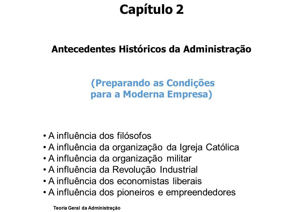 Teoria Geral da Administração Capítulo 2 Antecedentes Históricos da Administração (Preparando as Condições para a Moderna Empresa) A influência dos fi