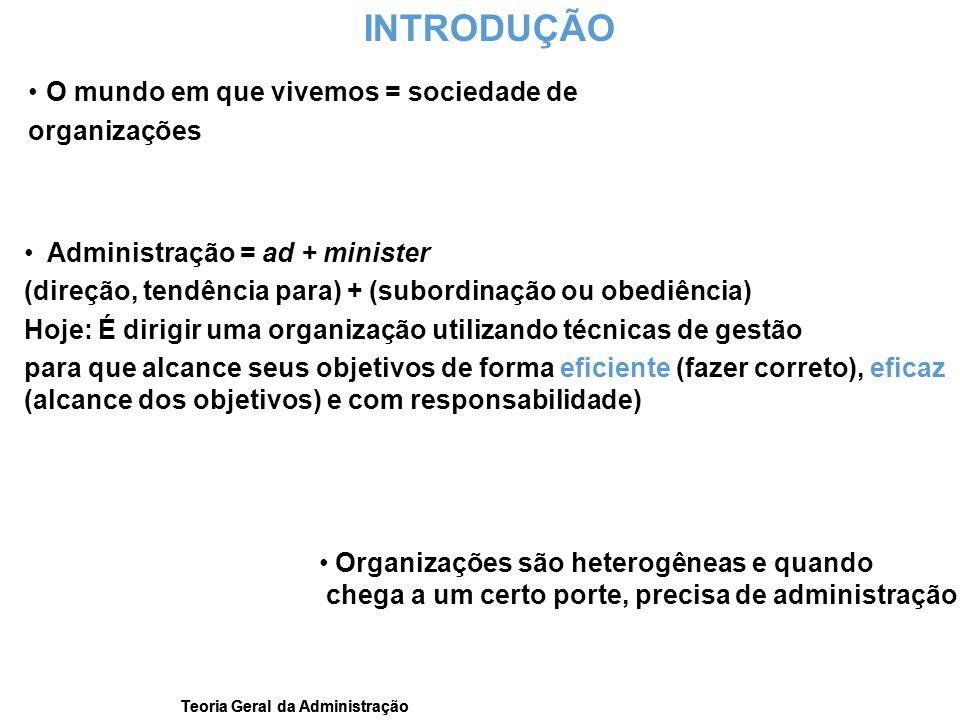 Teoria Geral da Administração INTRODUÇÃO O mundo em que vivemos = sociedade de organizações Administração = ad + minister (direção, tendência para) +