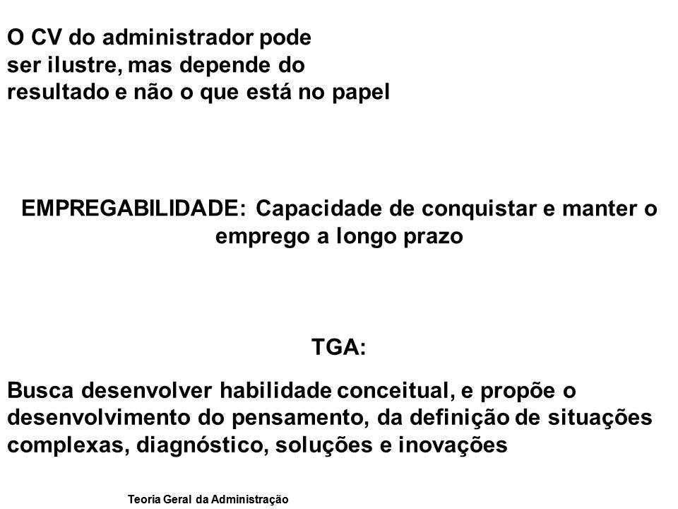 Teoria Geral da Administração TGA: Busca desenvolver habilidade conceitual, e propõe o desenvolvimento do pensamento, da definição de situações comple