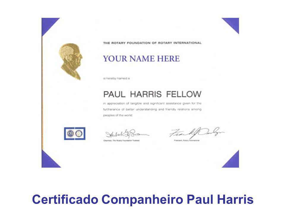Certificado Companheiro Paul Harris