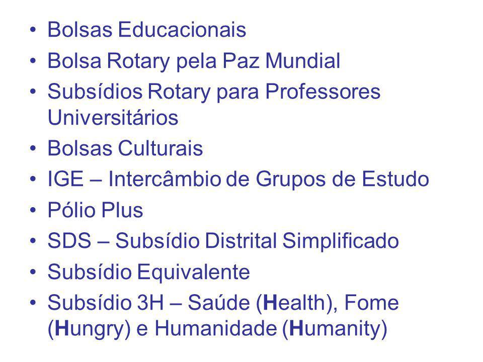 Bolsas Educacionais Bolsa Rotary pela Paz Mundial Subsídios Rotary para Professores Universitários Bolsas Culturais IGE – Intercâmbio de Grupos de Est