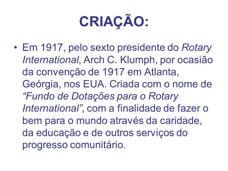 CRIAÇÃO: Em 1917, pelo sexto presidente do Rotary International, Arch C. Klumph, por ocasião da convenção de 1917 em Atlanta, Geórgia, nos EUA. Criada