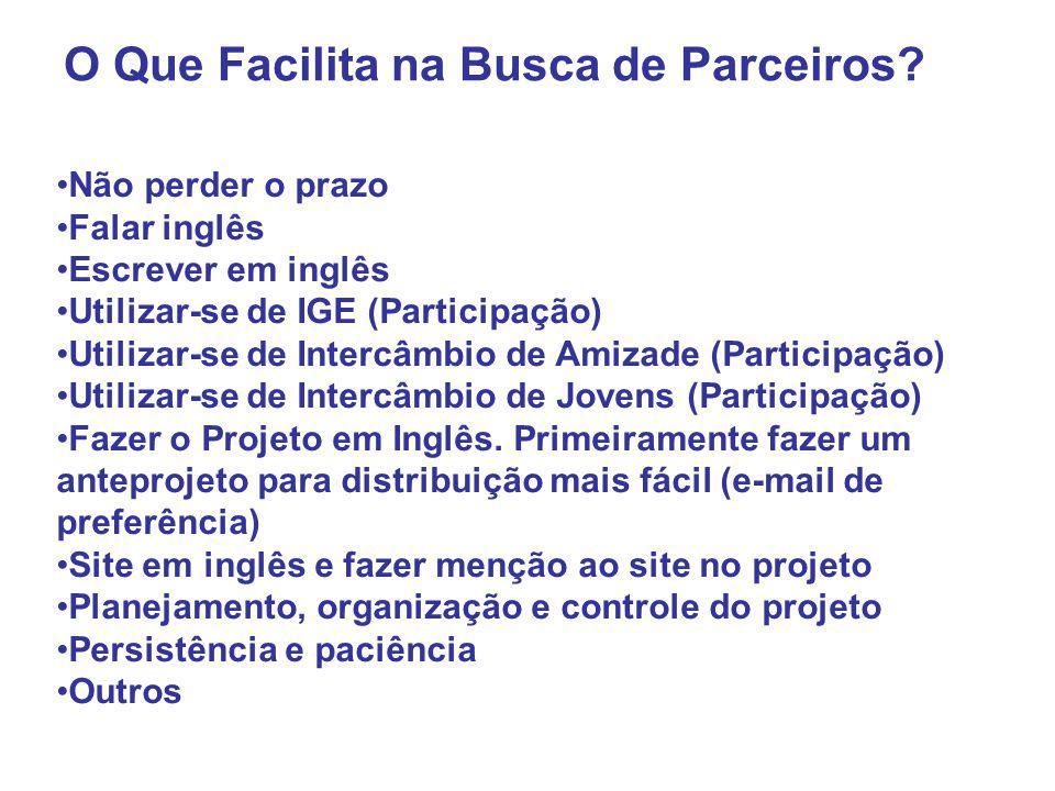 Não perder o prazo Falar inglês Escrever em inglês Utilizar-se de IGE (Participação) Utilizar-se de Intercâmbio de Amizade (Participação) Utilizar-se