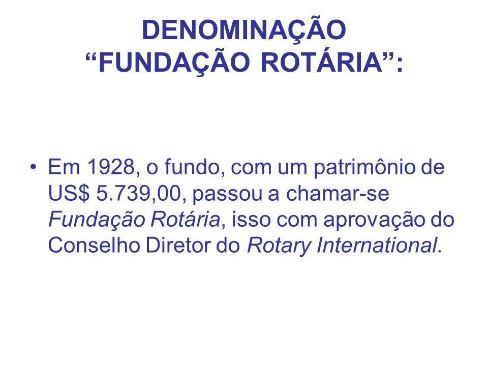 """DENOMINAÇÃO """"FUNDAÇÃO ROTÁRIA"""": Em 1928, o fundo, com um patrimônio de US$ 5.739,00, passou a chamar-se Fundação Rotária, isso com aprovação do Consel"""
