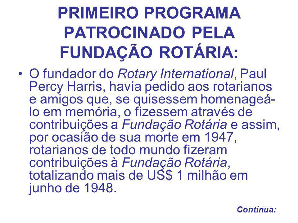 PRIMEIRO PROGRAMA PATROCINADO PELA FUNDAÇÃO ROTÁRIA: Em 1948 a Fundação Rotária lança seu primeiro programa denominado Bolsa Educacional de Graduação , outorgando bolsas internacionais de pós-graduação a dezoito estudantes de 7 países.