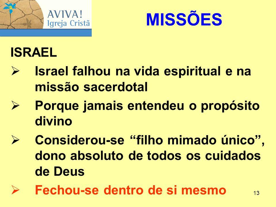 """13 ISRAEL  Israel falhou na vida espiritual e na missão sacerdotal  Porque jamais entendeu o propósito divino  Considerou-se """"filho mimado único"""","""