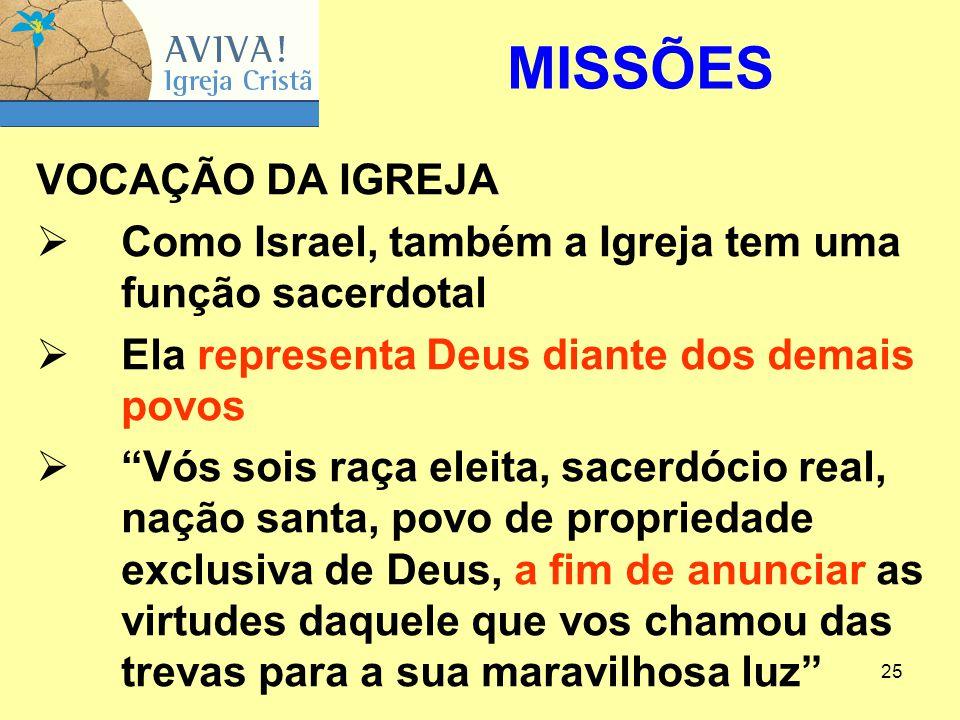 """25 VOCAÇÃO DA IGREJA  Como Israel, também a Igreja tem uma função sacerdotal  Ela representa Deus diante dos demais povos  """"Vós sois raça eleita, s"""