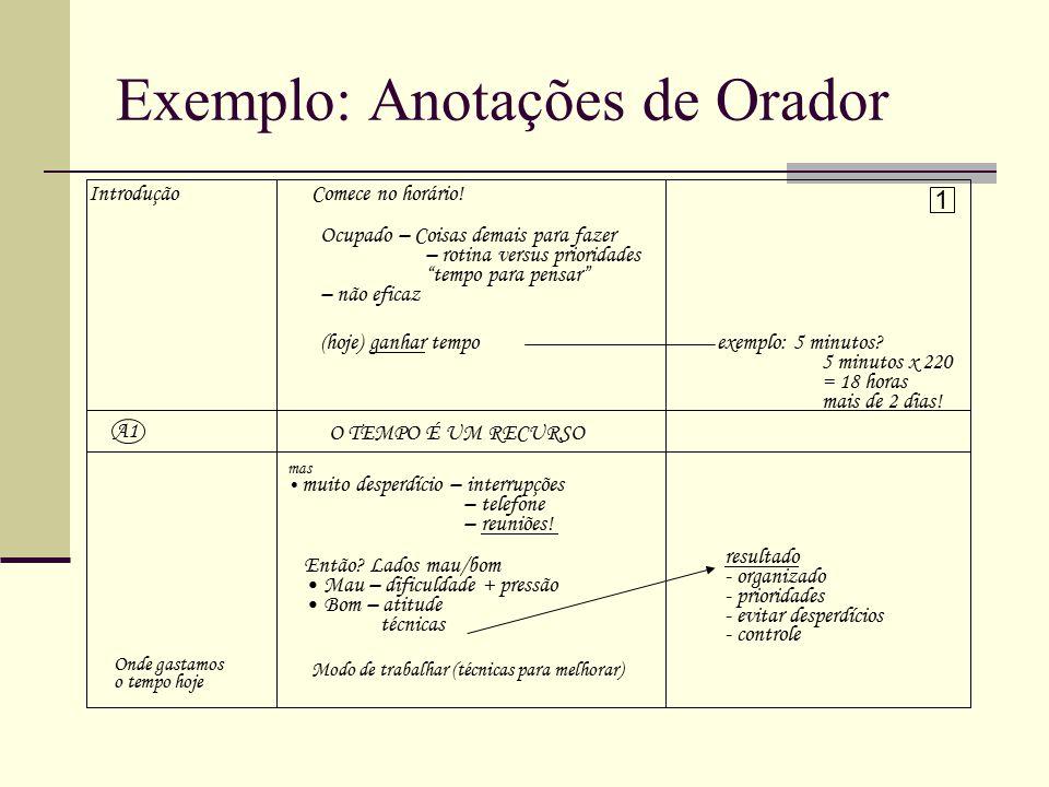Exemplo: Anotações de Orador IntroduçãoComece no horário.
