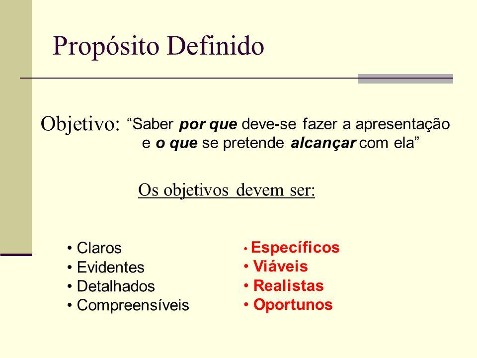 Propósito Definido Objetivo: Saber por que deve-se fazer a apresentação e o que se pretende alcançar com ela Os objetivos devem ser: Claros Evidentes Detalhados Compreensíveis Específicos Viáveis Realistas Oportunos