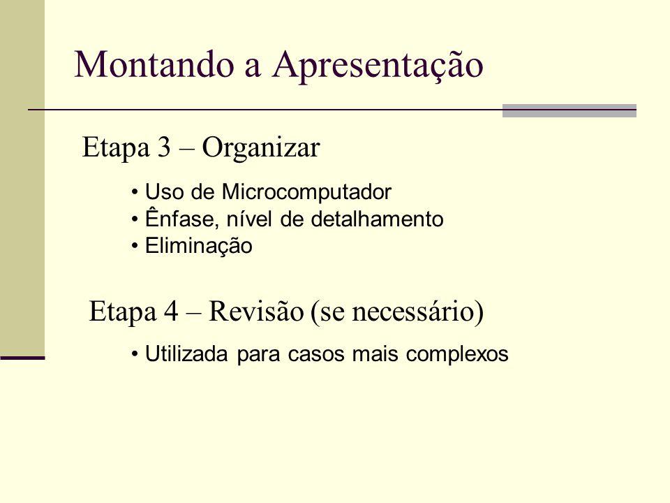 Montando a Apresentação Etapa 3 – Organizar Uso de Microcomputador Ênfase, nível de detalhamento Eliminação Etapa 4 – Revisão Utilizada para casos mais complexos (se necessário)