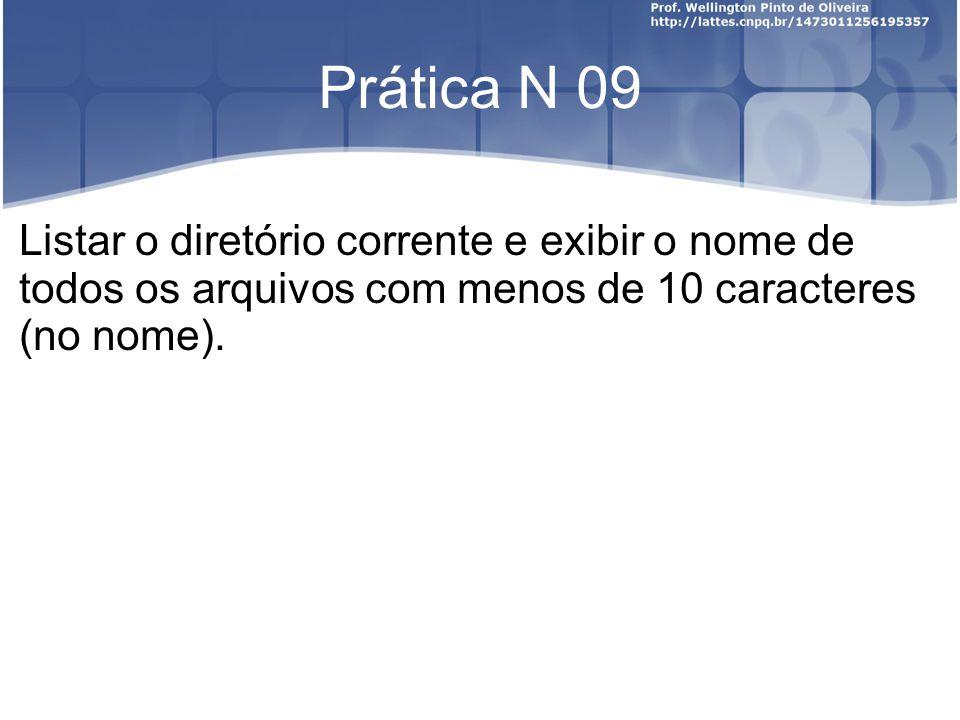 Prática N 09 Listar o diretório corrente e exibir o nome de todos os arquivos com menos de 10 caracteres (no nome).
