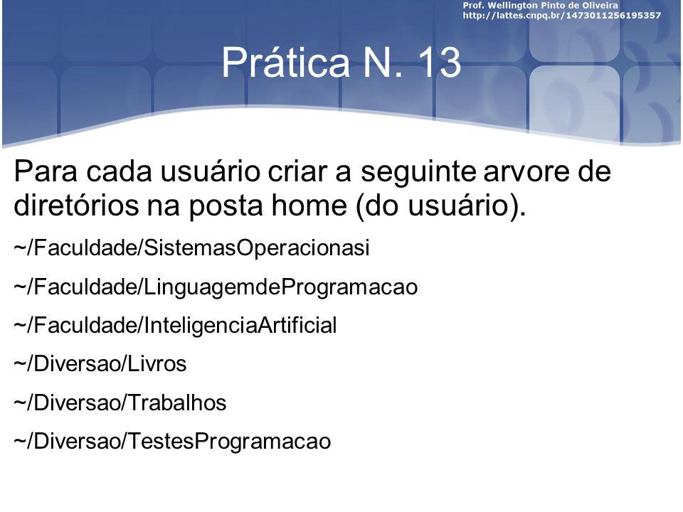 Prática N. 13 Para cada usuário criar a seguinte arvore de diretórios na posta home (do usuário).